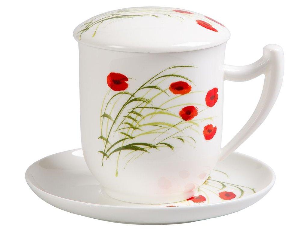 Caprice Vlčí mák  - fine bone china porcelánový šálek s podšálkem, pokličkou a sítkem 0,35 l