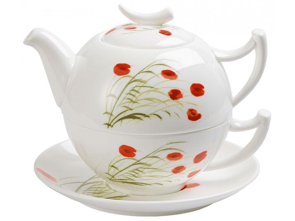Caprice - Fine Bone China  Tea for one, čajová porcelánová souprava 0,25l /0,5 l, vlčí mák