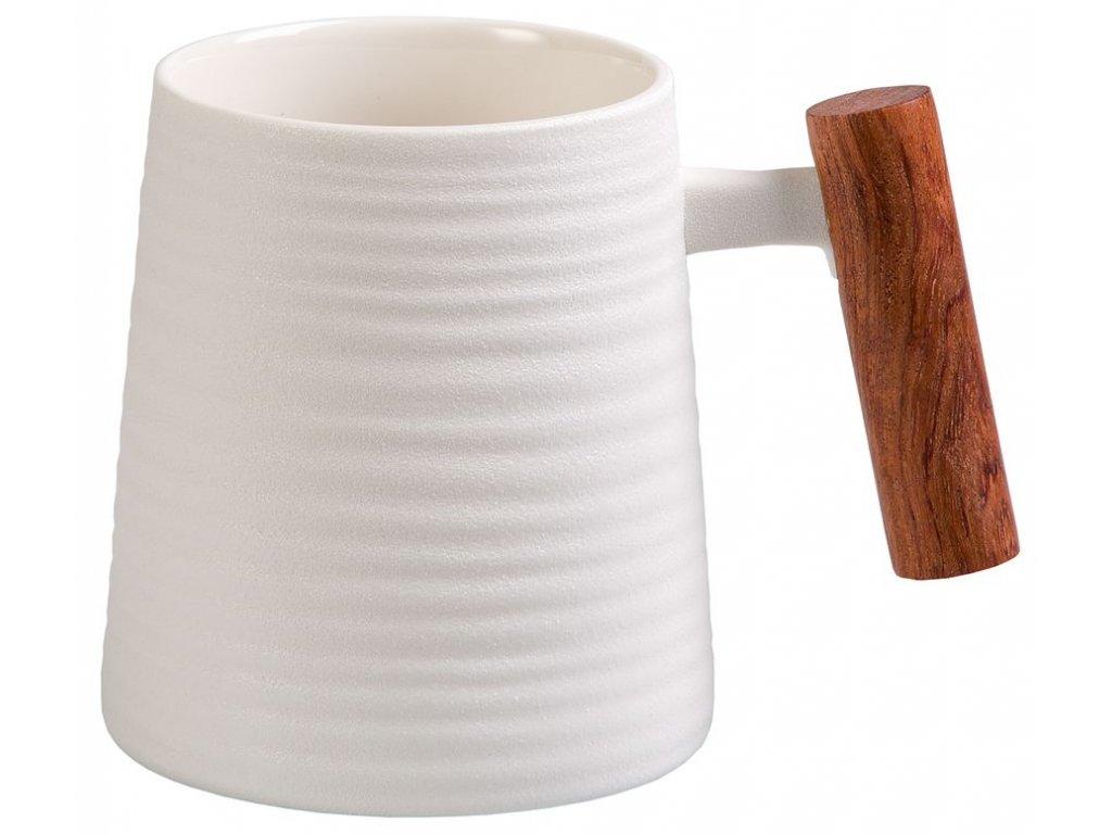 Blanca - porcelánový hrnek s dřevěným uchem 0,32 l, bílý s reliéfem