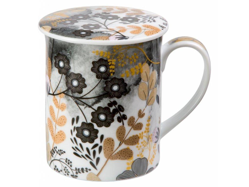 Astrid - Fine Bone China porcelánový hrnek s pokličkou a sítkem 0,35 l, květiny