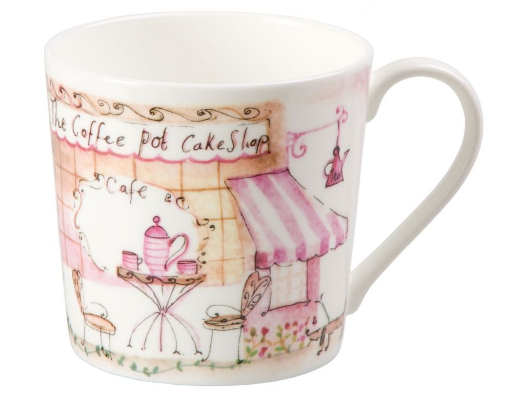 Eleanor - Fine Bone China porcelánový hrnek 0,37 l, růžový