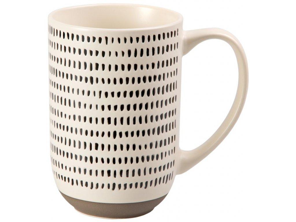 Janosch - keramický hrnek 0,5 l, bíločerný, proužky