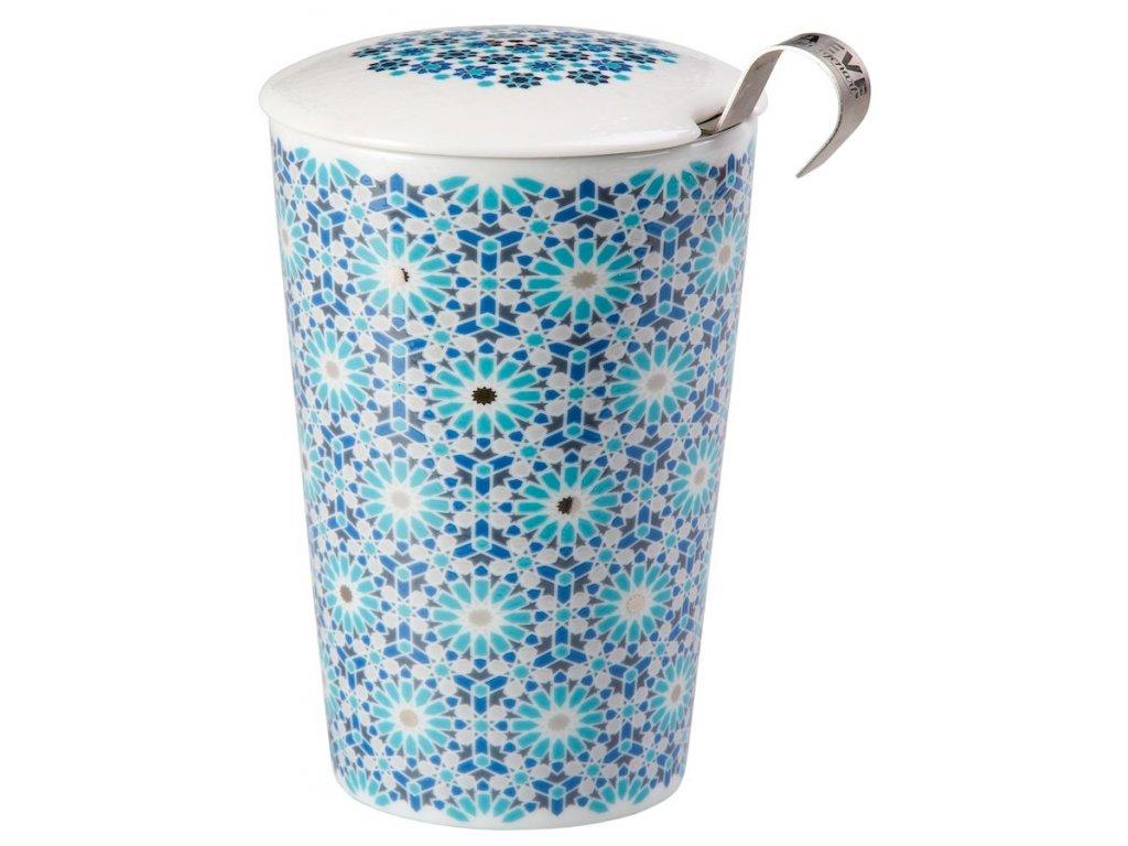 Andalusia - porcelánový hrnek bez ouška se sítkem a pokličkou 0,35 l, modrý, zelený