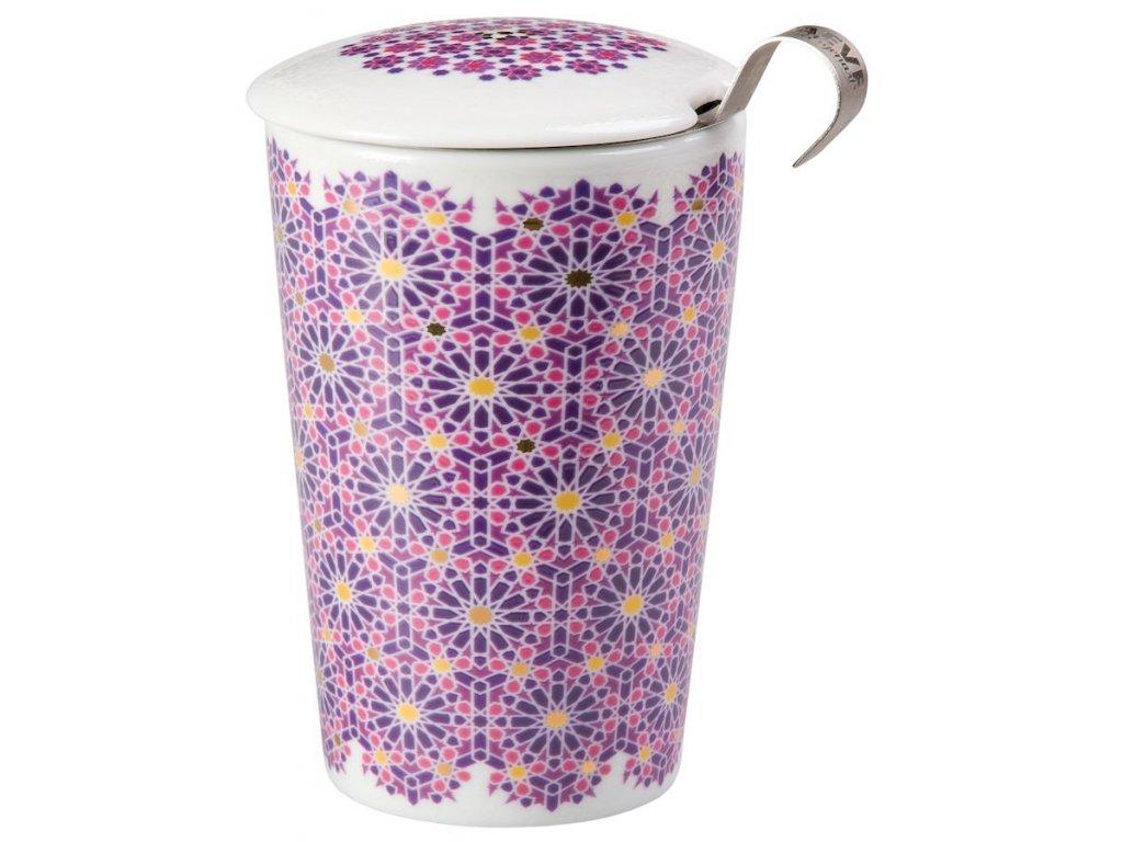 Andalusia - porcelánový hrnek bez ouška se sítkem a pokličkou 0,35 l, růžový, fialový