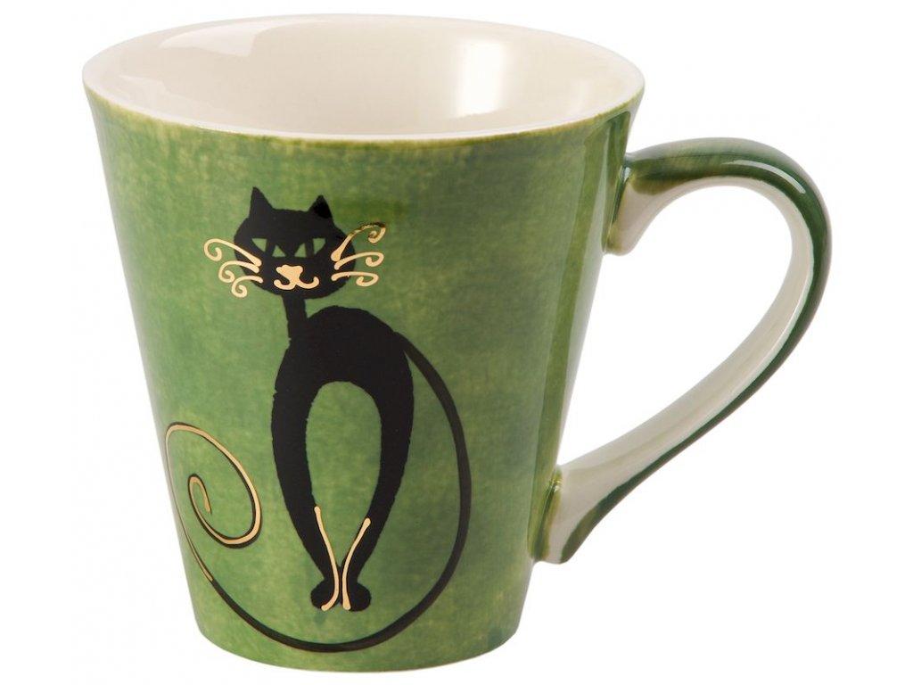 Mitsy - keramický hrnek 0,25 l, zelený, kočka