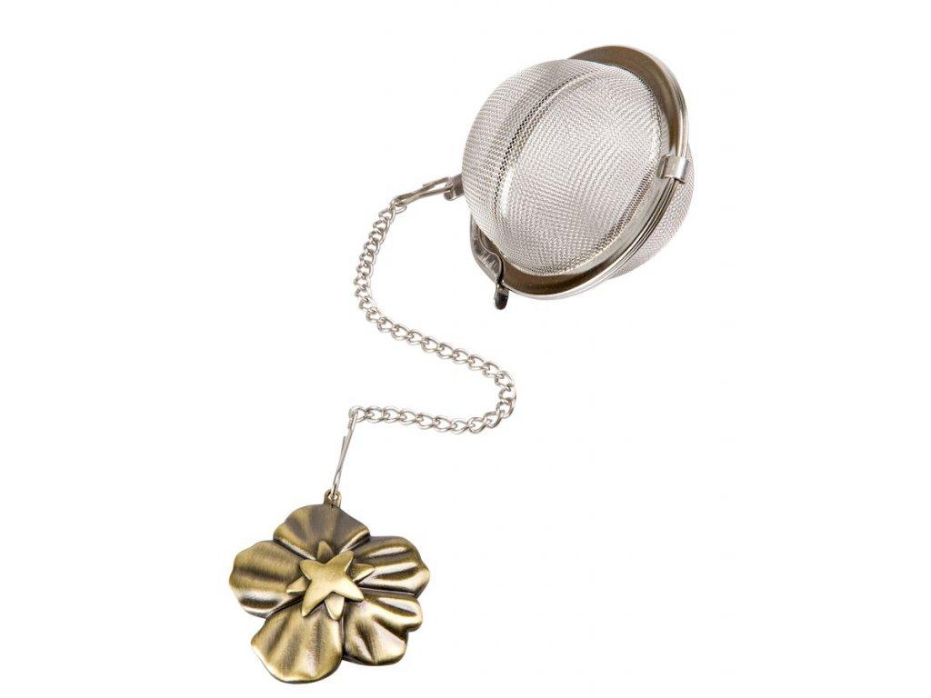 Čajové sítko s bronzovým přívěskem Květina ø 5 cm