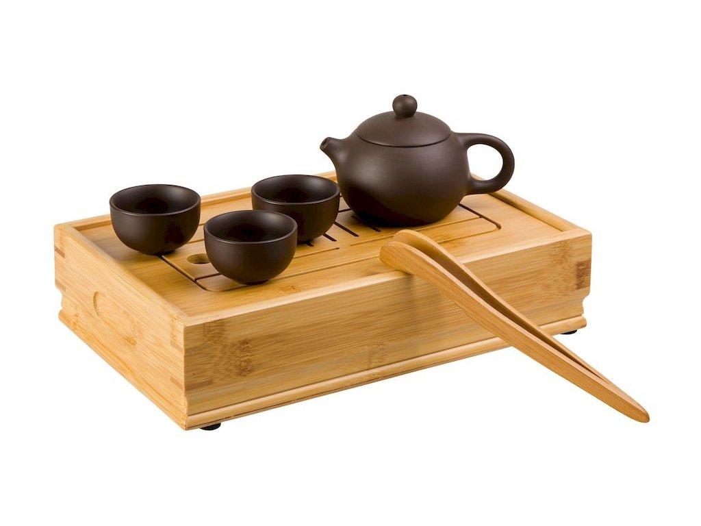 Zhong -  keramická čajová souprava 0,03l/ 0,16 l hnědá s čajovým mořem