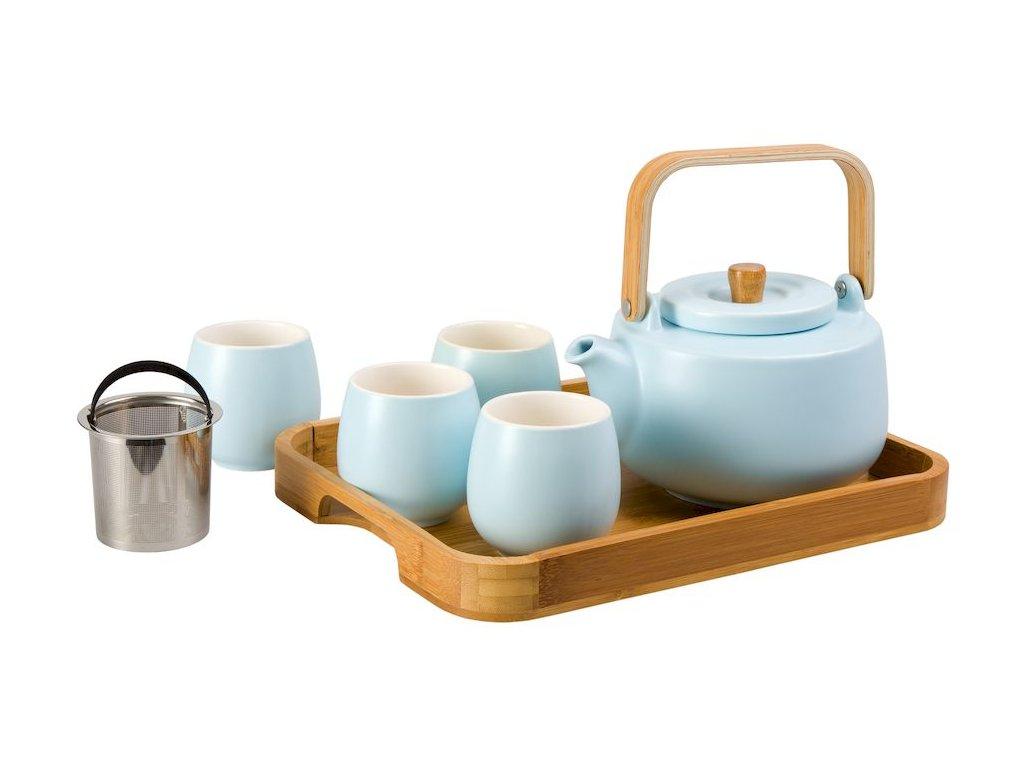 Beppo -  porcelánová čajová souprava 0,17 l/ 0,9 l, modrá s bambusovým tácem