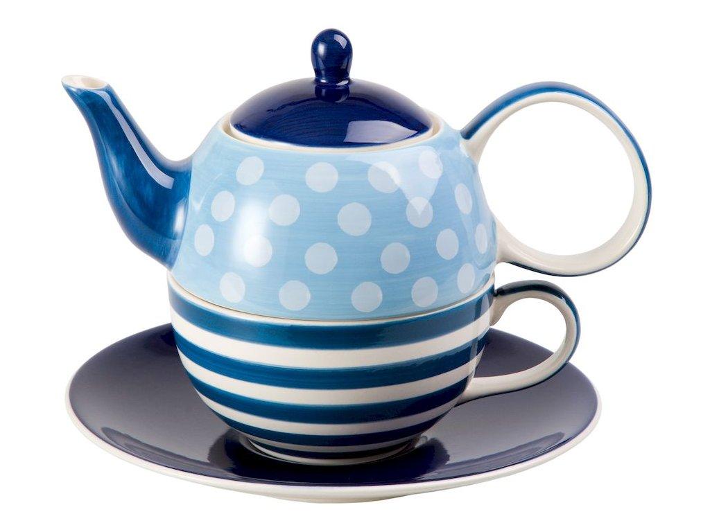 Oke - keramická čajová souprava 0,2 l/0,4 l, tea for one, proužky, puntíky
