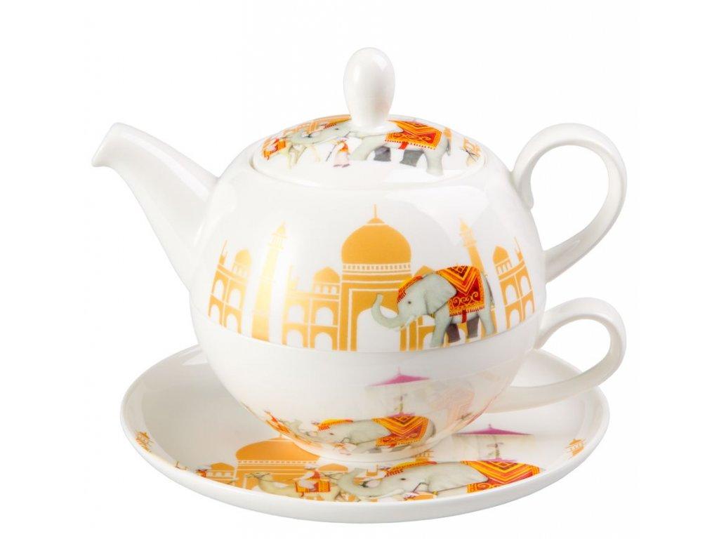Mahal - Tea for one, Fine Bone China, čajová porcelánová souprava 0,25l /0,5 l, slon, Indie