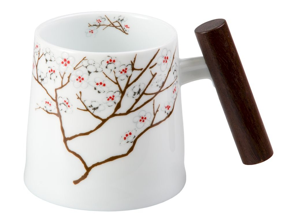 Bílá třešeň - Fine Bone China porcelánový hrnek s dřevěným uchem 0,32 l