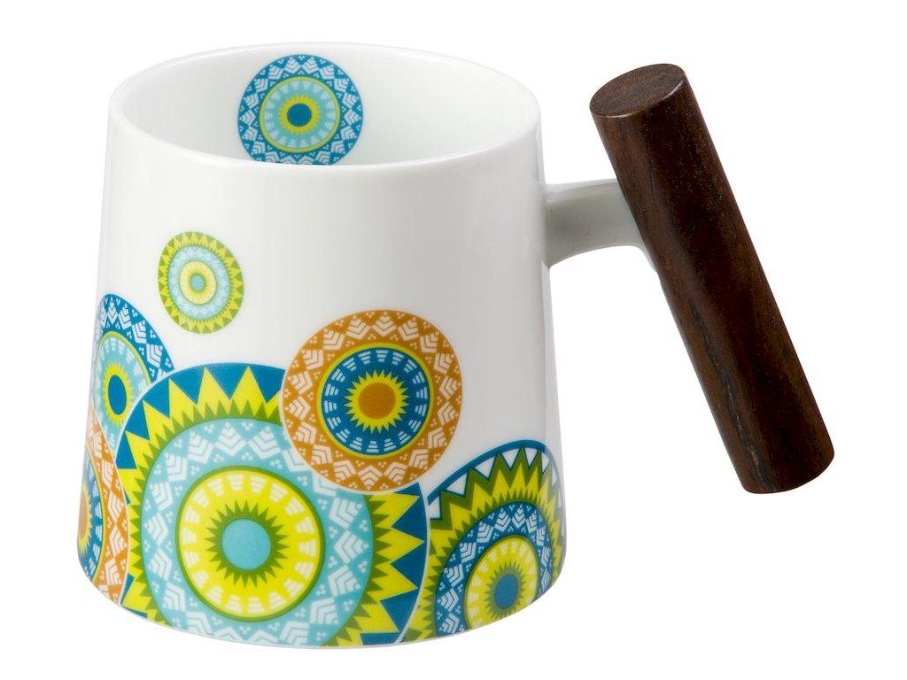 Ramon - porcelánový hrnek s dřevěným uchem 0,32 l, mandaly
