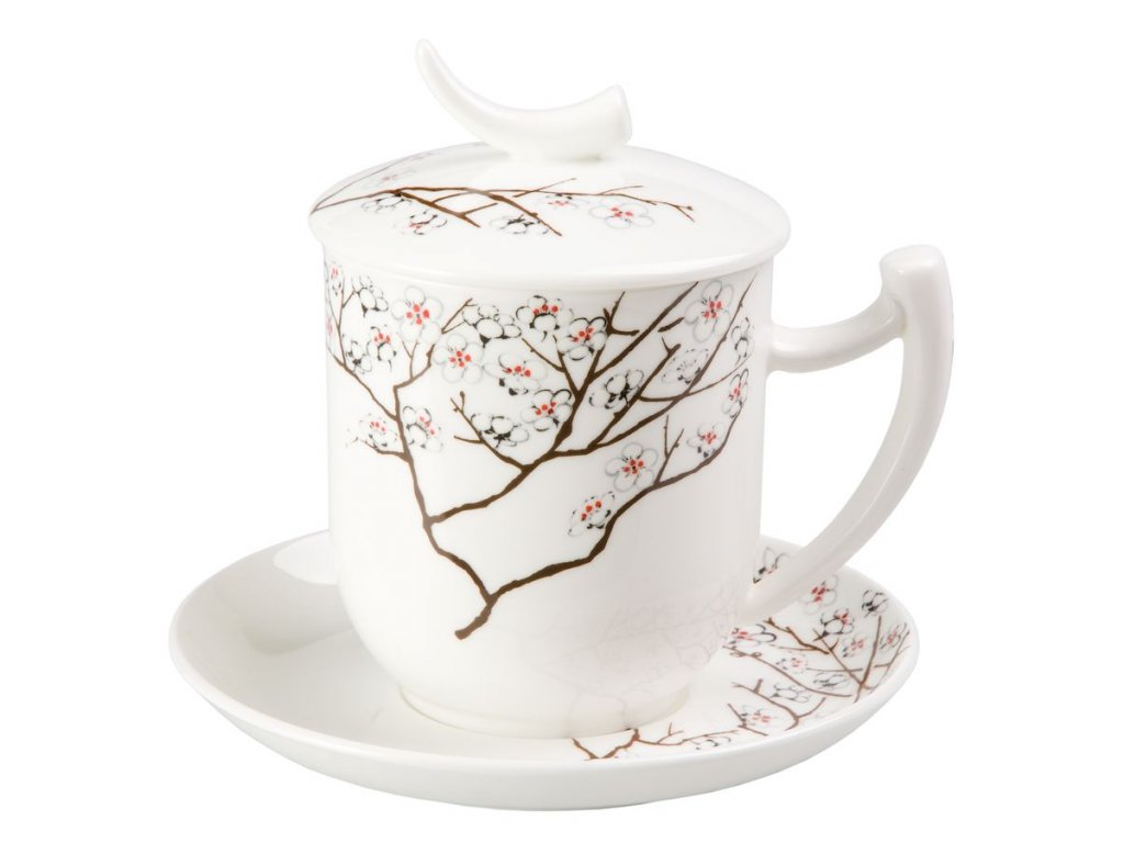 Bílá třešeň - Fine Bone China, porcelánový hrnek s podšálkem, pokličkou a sítkem 0,35 l