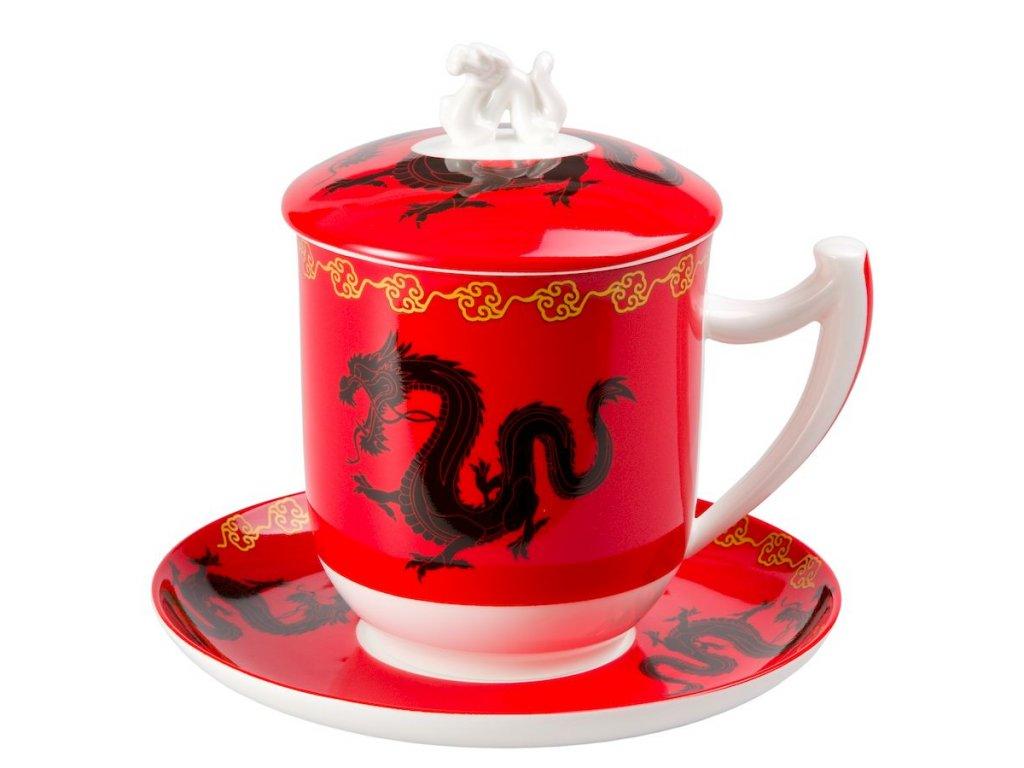 Zhu - Fine Bone China, porcelánový hrnek s podšálkem, pokličkou a sítkem 0,35 l, červený, čínský drak