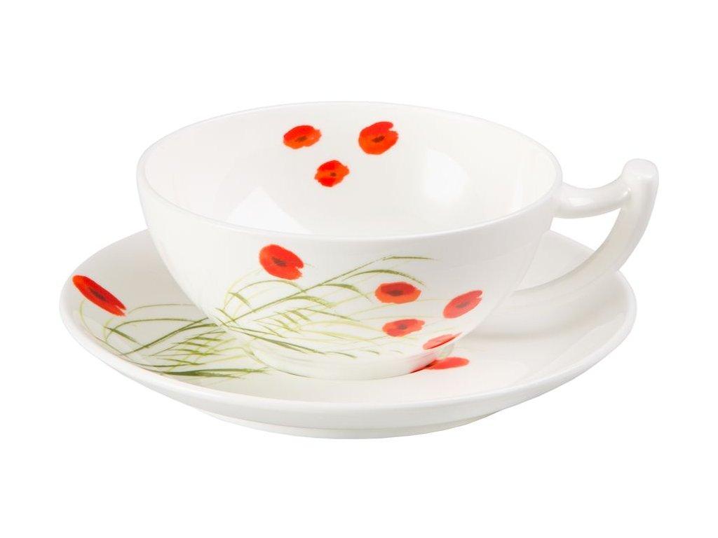 Caprice - Fine Bone China, porcelánový šálek s podšálkem, 0,18 l, vlčí mák