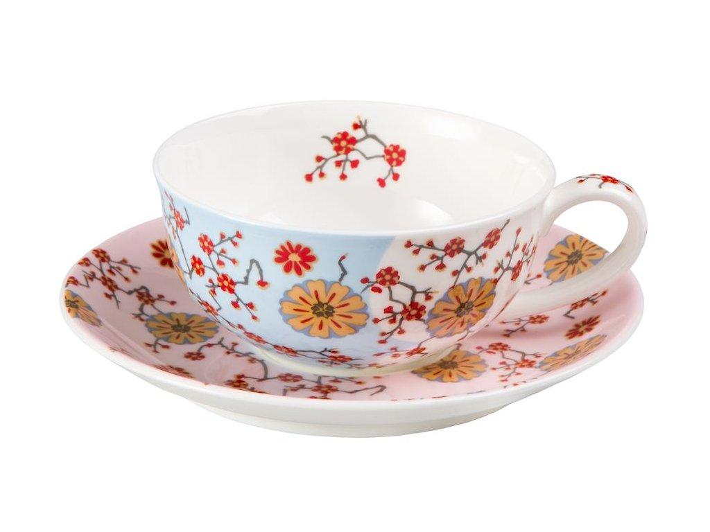 Ava - Fine Bone China, porcelánový šálek s podšálkem, 0,18 l, modrý