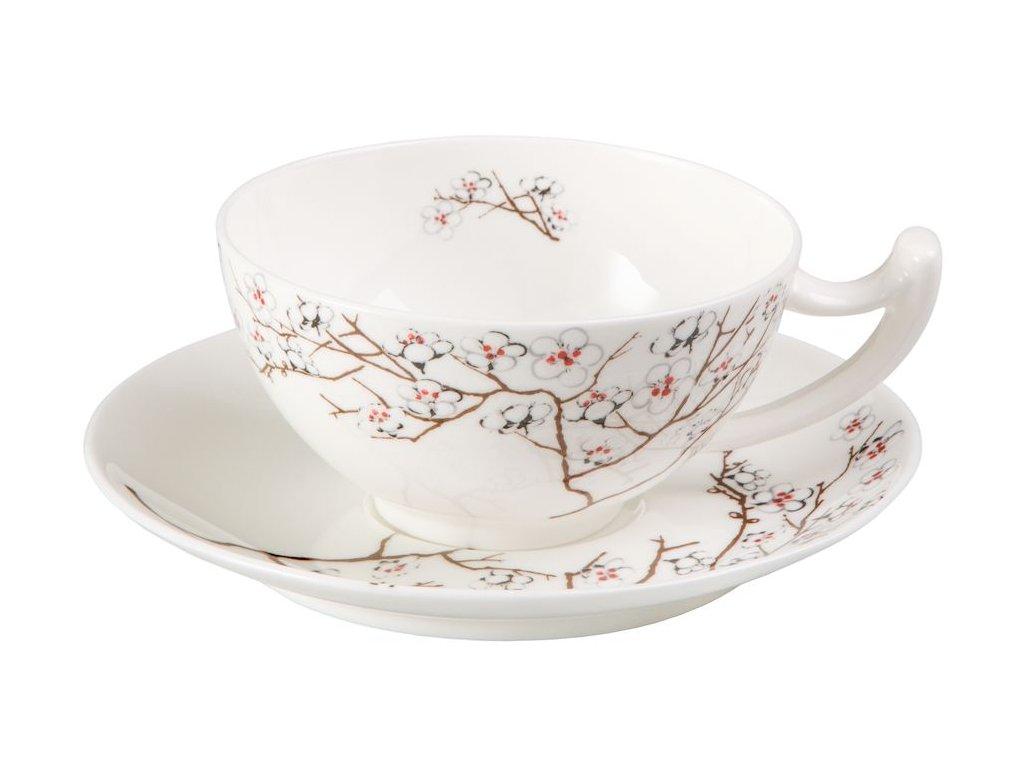 Bílá třešeň - Fine Bone China, porcelánový šálek s podšálkem, 0,18 l