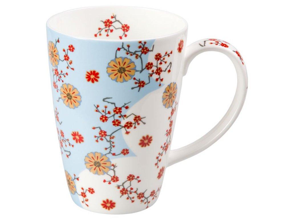 Ava - Fine Bone China porcelánový hrnek 0,5 l, květiny, modrý