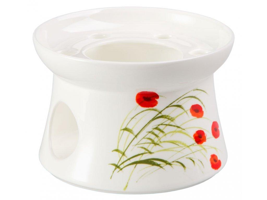 Caprice - Fine Bone China porcelánový ohřívák na čajovou konvici, vlčí mák