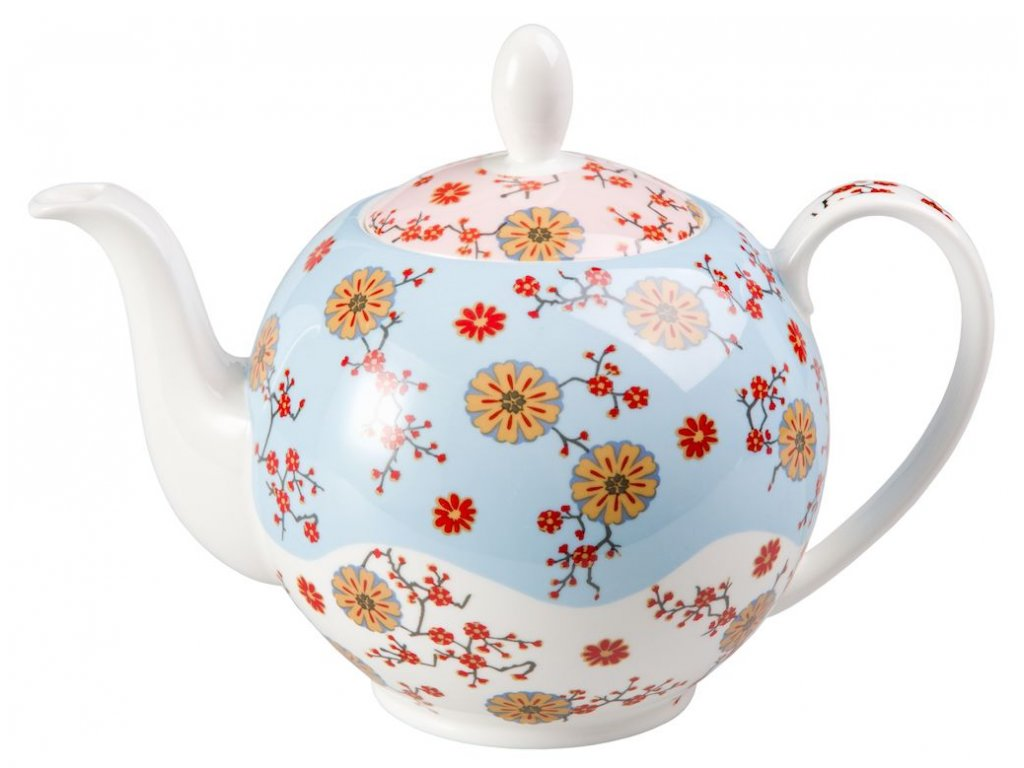 Ava - Fine Bone China porcelánová čajová konvice 1 l, květiny