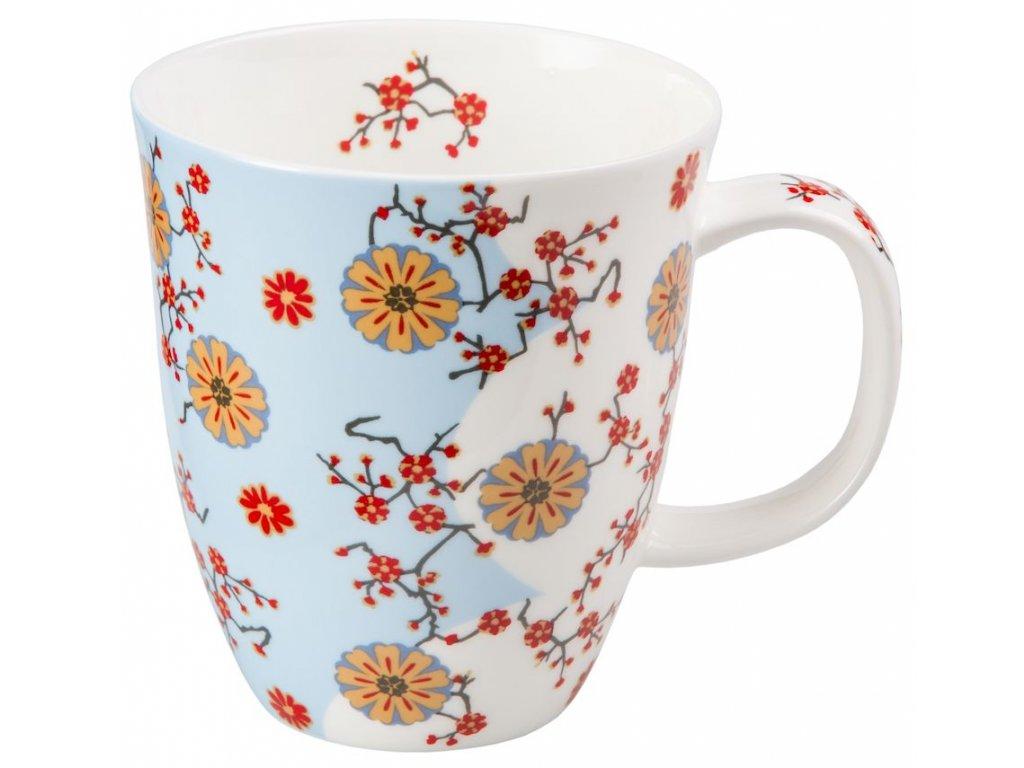 Ava - Fine Bone China porcelánový hrnek 0,35 l, květiny, modrý