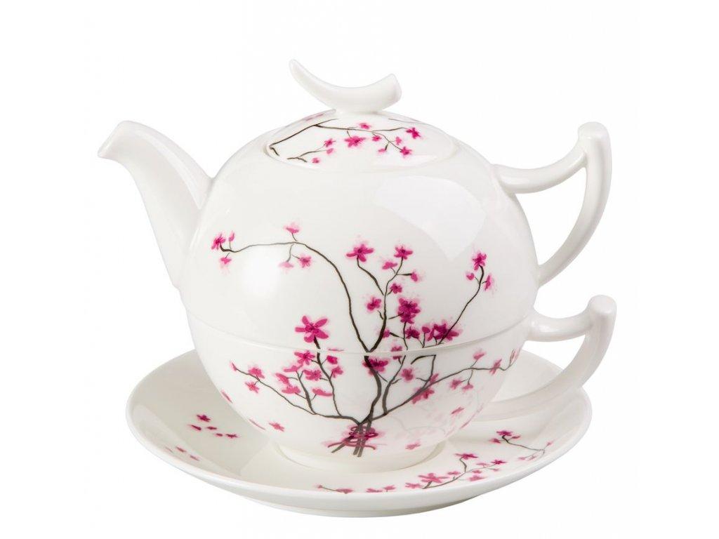 Cherry Blossom - Tea for one, Fine Bone China, čajová porcelánová souprava 0,25l /0,5 l, třešeň