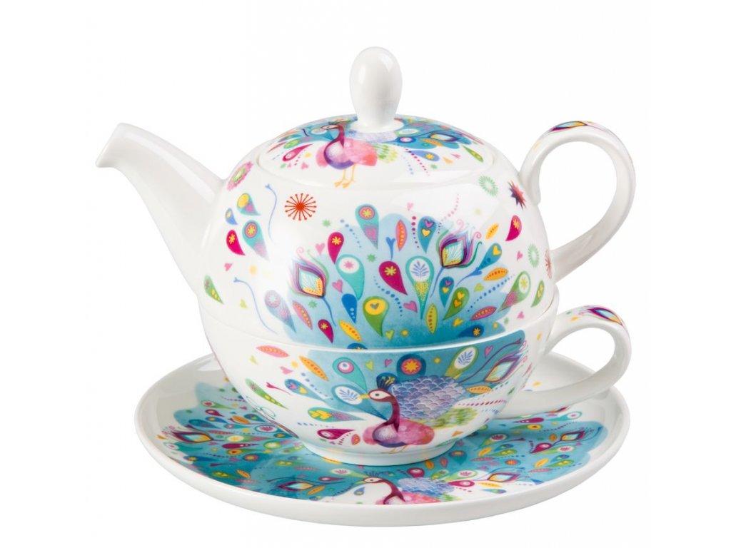 Paula - Tea for one, Fine Bone China, čajová porcelánová souprava 0,25l /0,5 l, páv