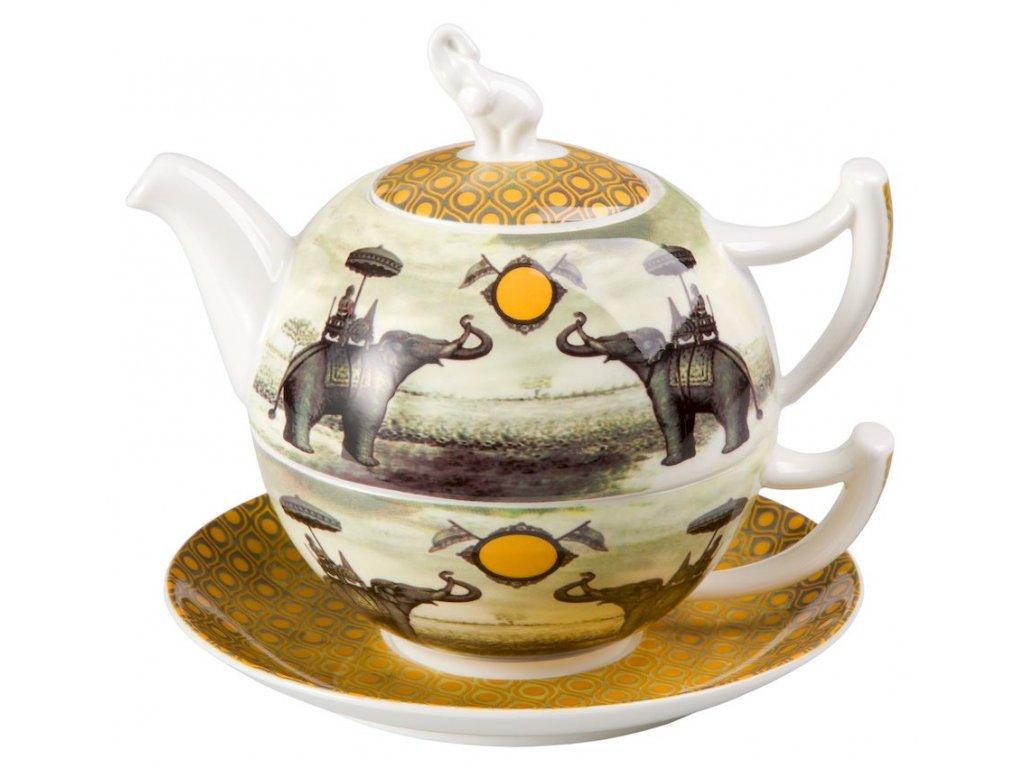 Sepia Elephant - Tea for one, Fine Bone China, čajová porcelánová souprava 0,25l /0,5 l, slon