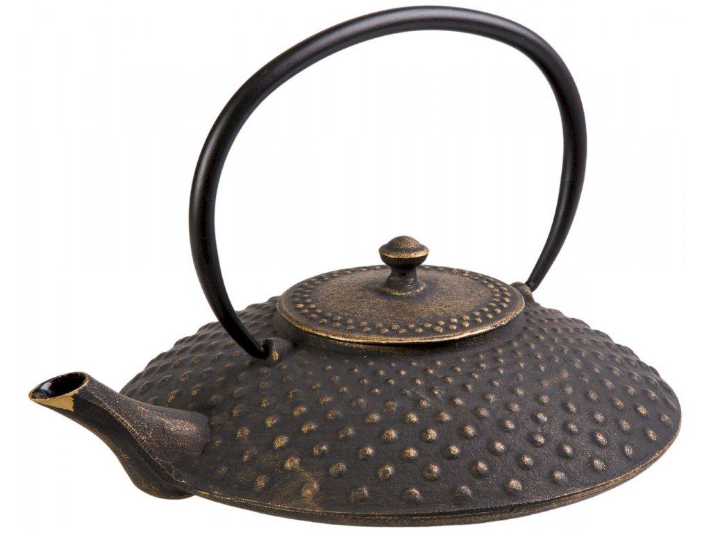 Kazuha - litinová čajová konvice se sítkem 1 l, zlatá, černá