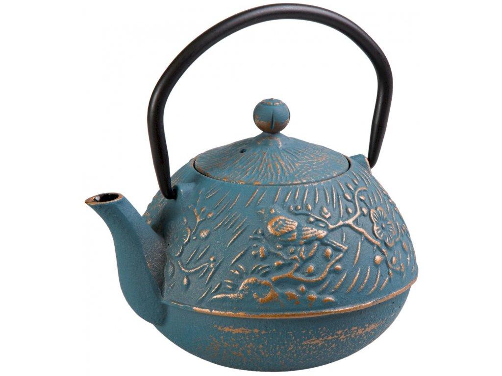 Meng - litinová čajová konvice 0,65 l, modrá, zlatá