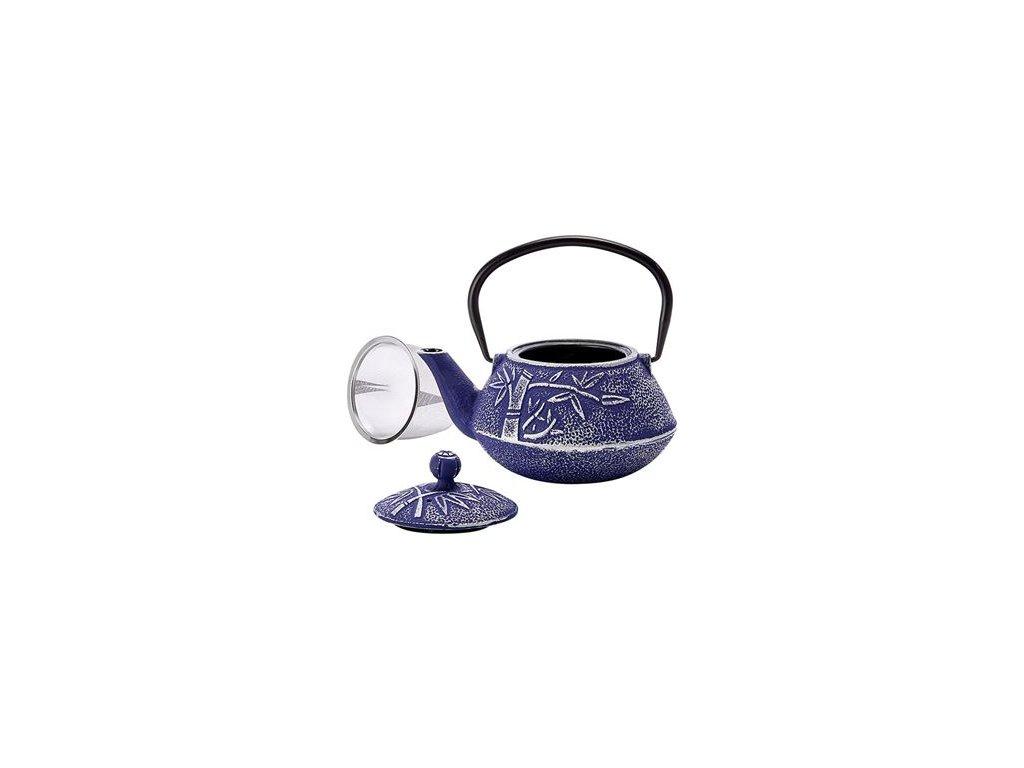 Huan - litinová čajová konvice s nerezovým sítkem 0,75 l, modrá, stříbrná