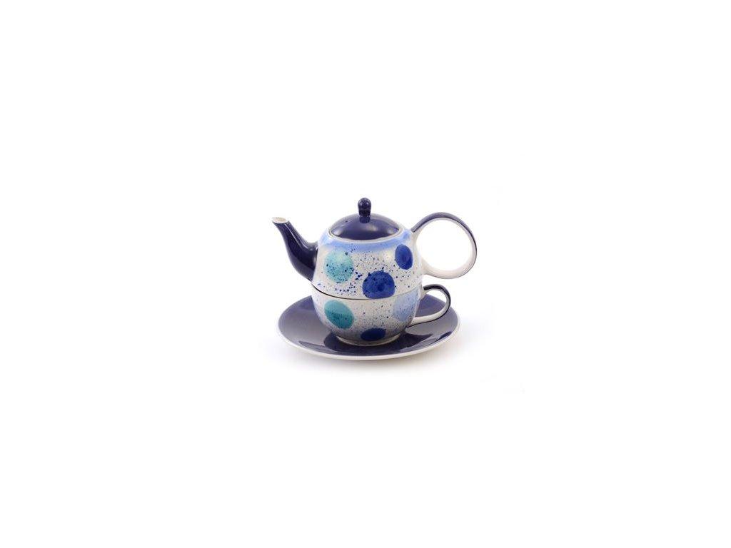 Enisa - keramická čajová souprava 0,2 l/0,4 l, Tea for one, modré puntíky