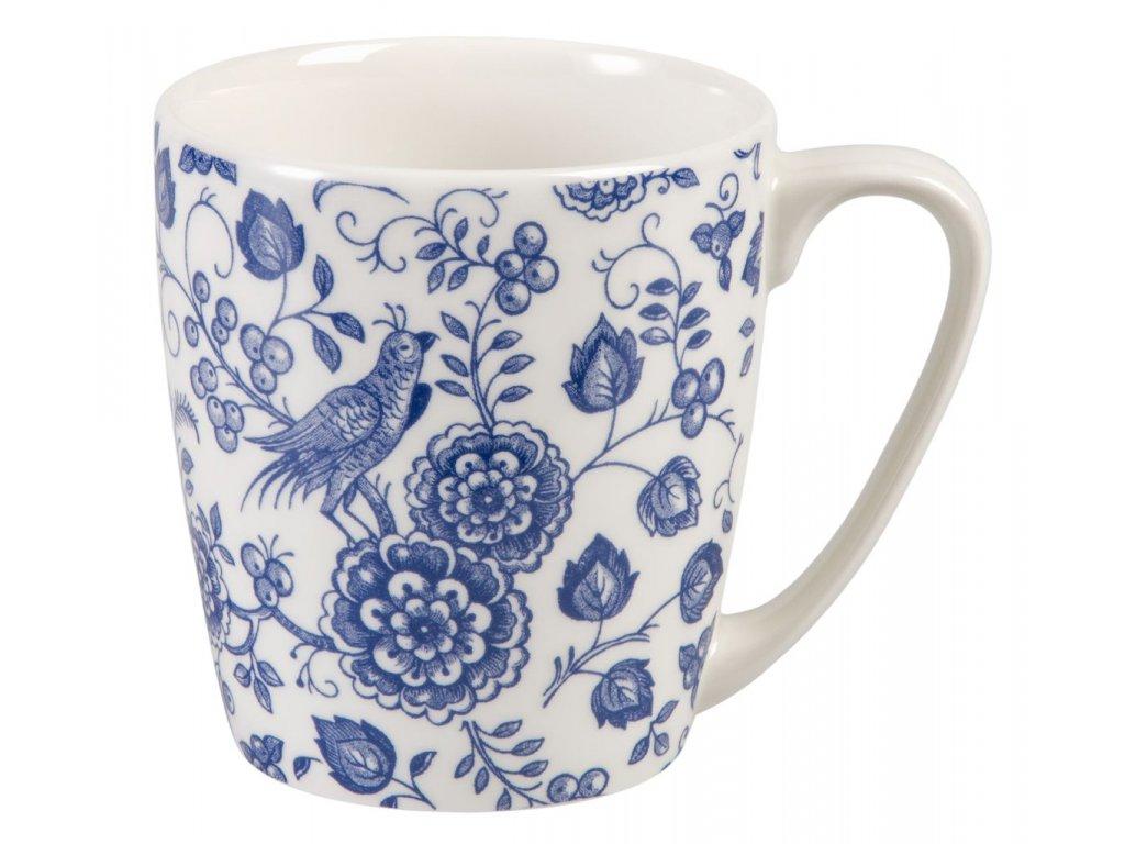 Nankin - Fine China, porcelánový hrnek 0, 3 l, modrý, bílý, květiny, ptáček