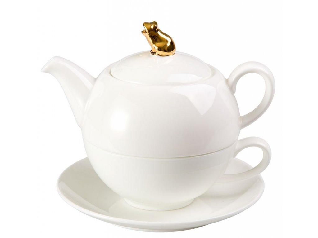 Golden Frog - Tea for one, Fine Bone China, čajová porcelánová souprava 0,25l /0,5 l, bílá, zlatá, žába
