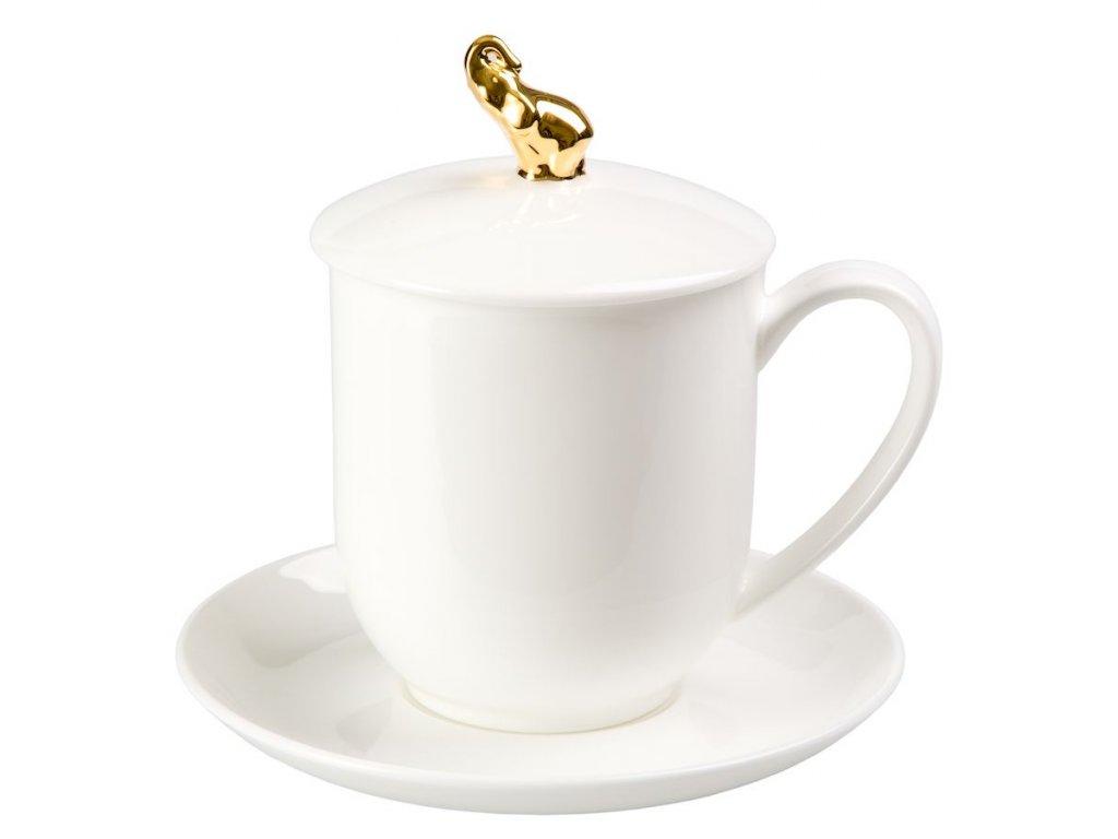 Golden Elephant - Fine Bone China, porcelánový hrnek s podšálkem, pokličkou a sítkem 0,35 l, bílá, zlatá, slon