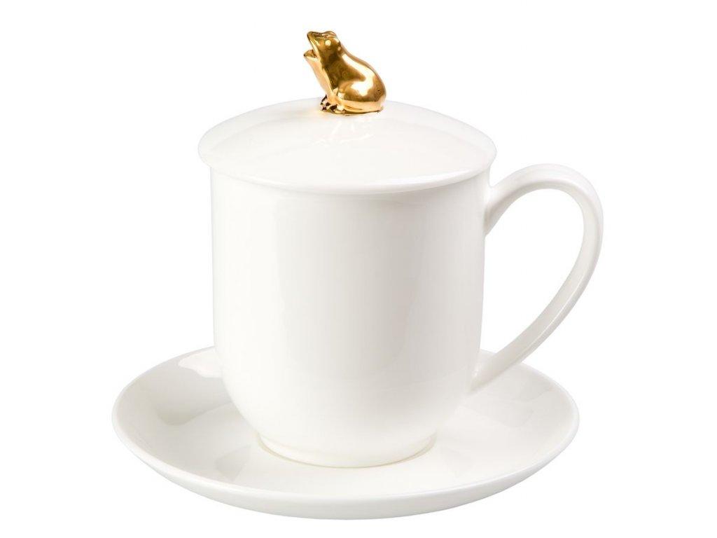 Golden Frog - Fine Bone China, porcelánový hrnek s podšálkem, pokličkou a sítkem 0,35 l, bílá, zlatá, žába