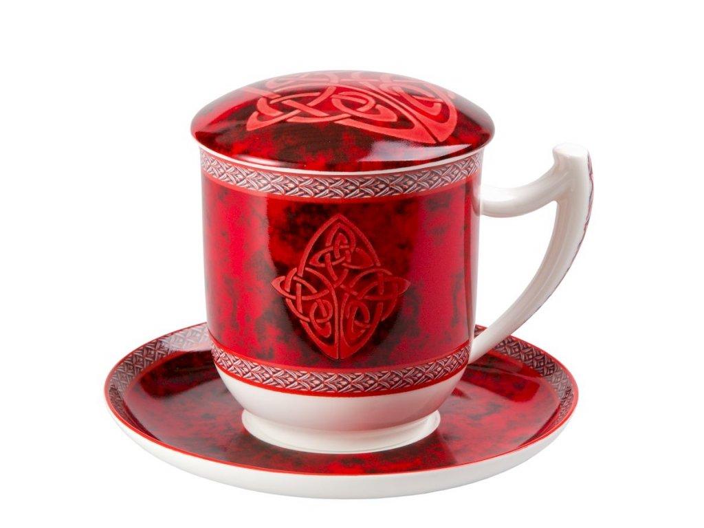 Celtic - Fine Bone China, porcelánový hrnek s podšálkem, pokličkou a sítkem 0,35 l, červený, keltský uzel