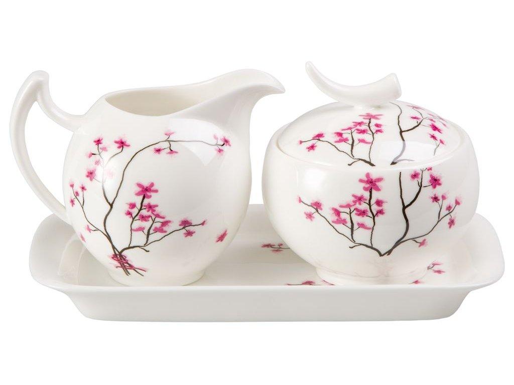 Cherry Blossom - Fine Bone China porcelánová mléčenka a cukřenka, třešeň