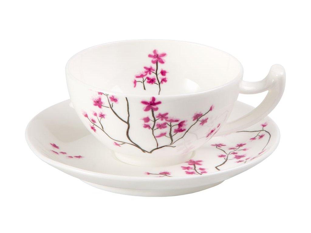 Cherry Blossom - Fine Bone China porcelánový šálek s podšálkem 0,18 l, třešeň