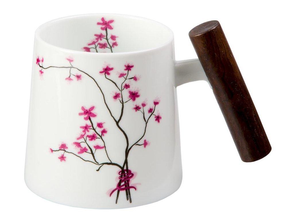 Cherry Blossom - Fine Bone China porcelánový hrnek s dřevěným uchem 0,32 l, třešeň