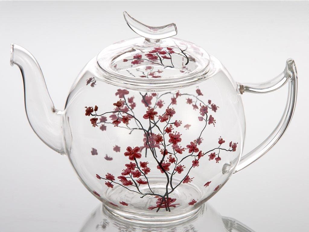 Cherry Blossom - skleněná čajová konvice 1,2 l, třešeň