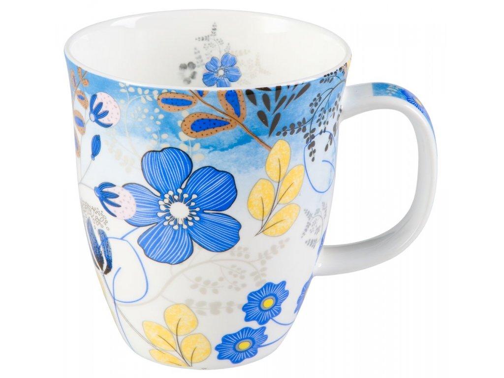 Nicole - Fine Bone China porcelánový hrnek 0,35 l, modrý, květiny
