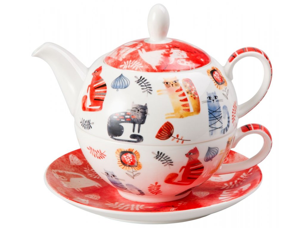 Kira - Tea for one, Fine Bone China, čajová porcelánová souprava 0,25l /0,5 l, kočka