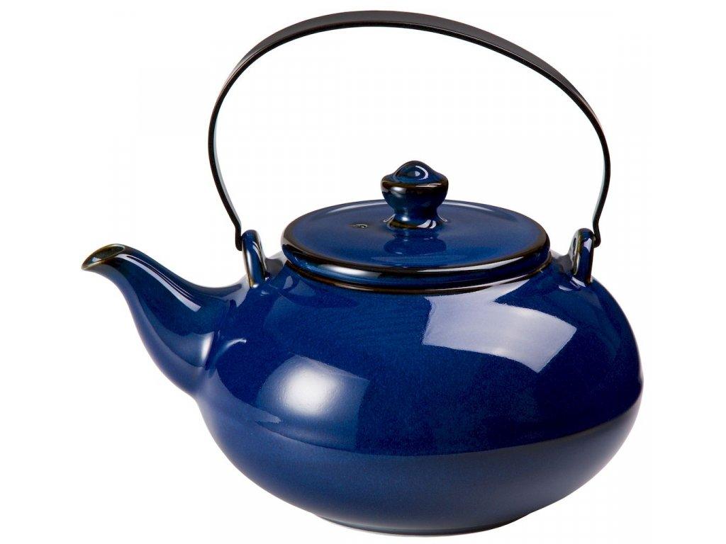 Banya - porcelánová čajová konvice se sítkem 0,9 l, modrá