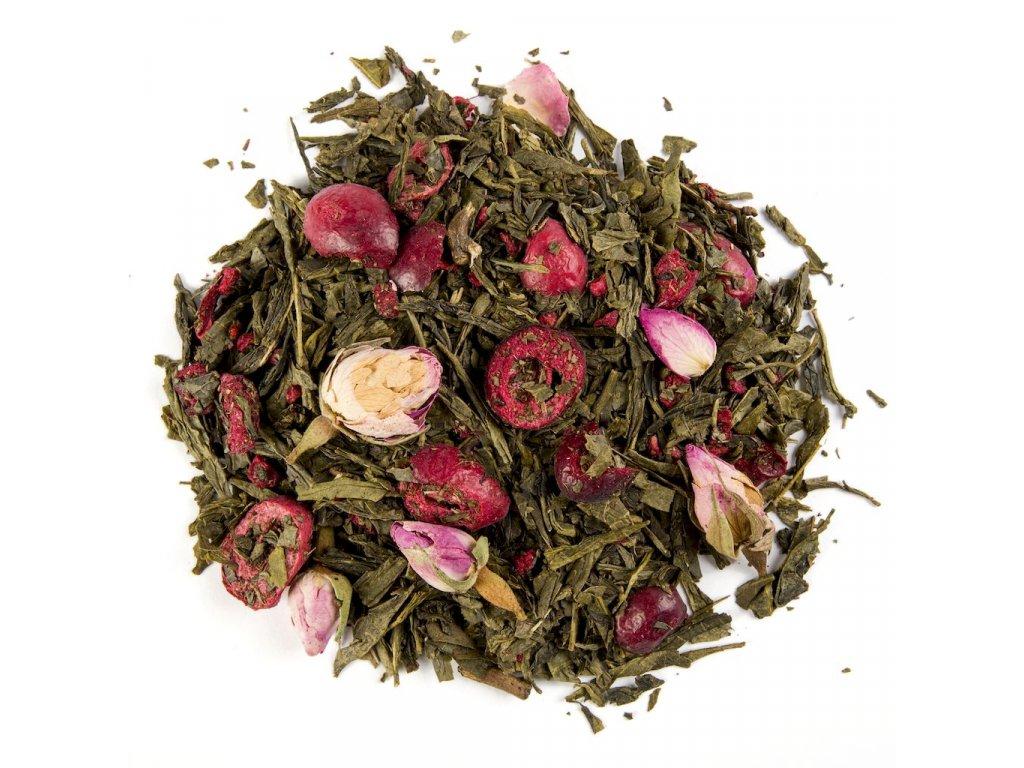 Brusinková romance - aromatizovaný sypaný zelený čaj 80 g
