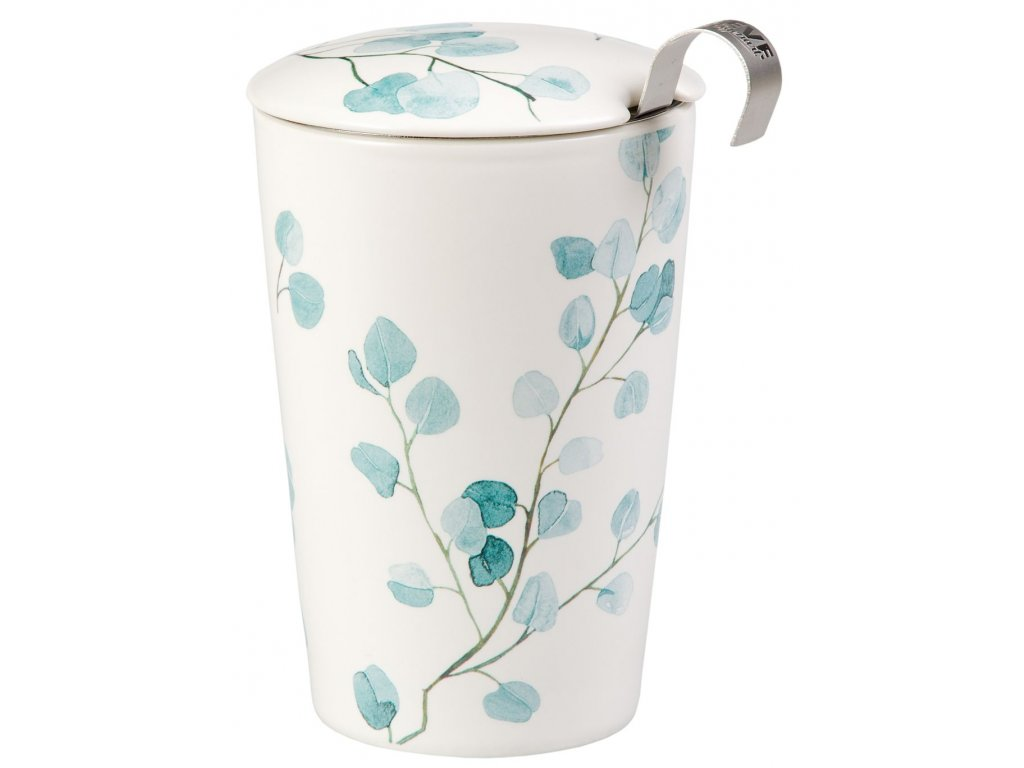 Trees - porcelánový hrnek bez ouška se sítkem a pokličkou 0,35 l, modrý