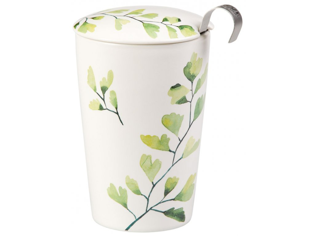 Trees - porcelánový hrnek bez ouška se sítkem a pokličkou 0,35 l, zelený