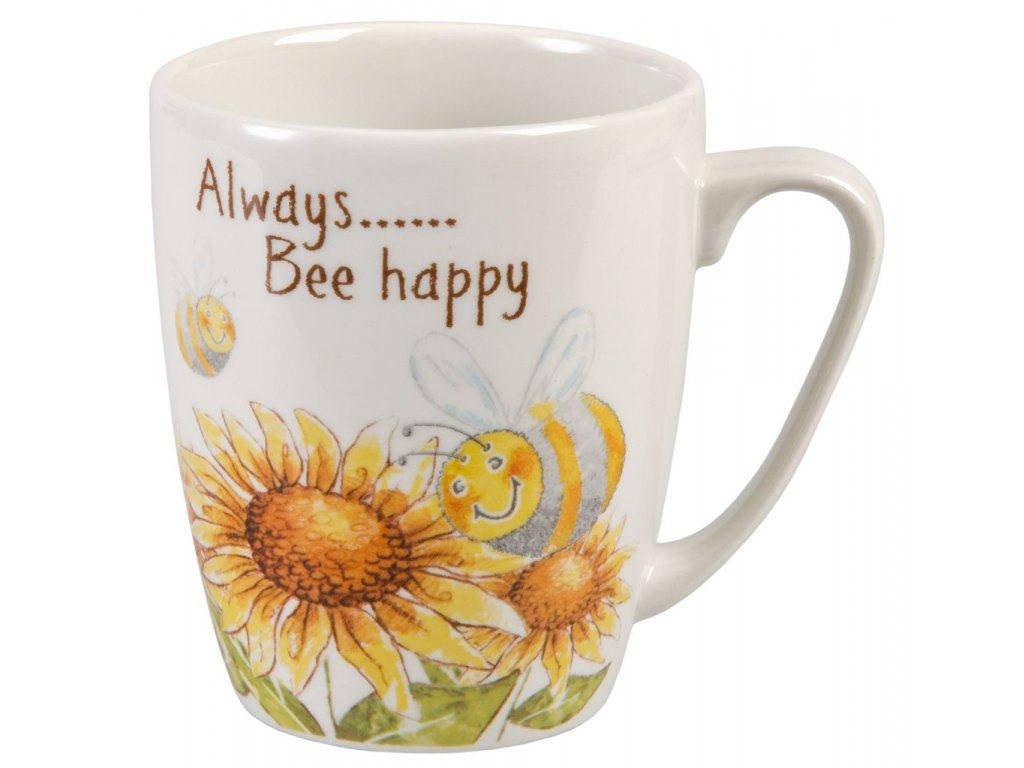 Always Bee happy  - Bone China, porcelánový hrnek 0,4 l, slunečnice, včela