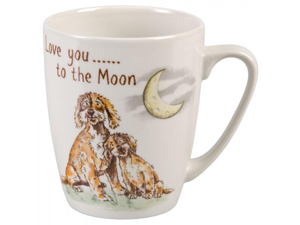 Love you to the Moon - Bone China, porcelánový hrnek 0,4 l, pes, měsíc