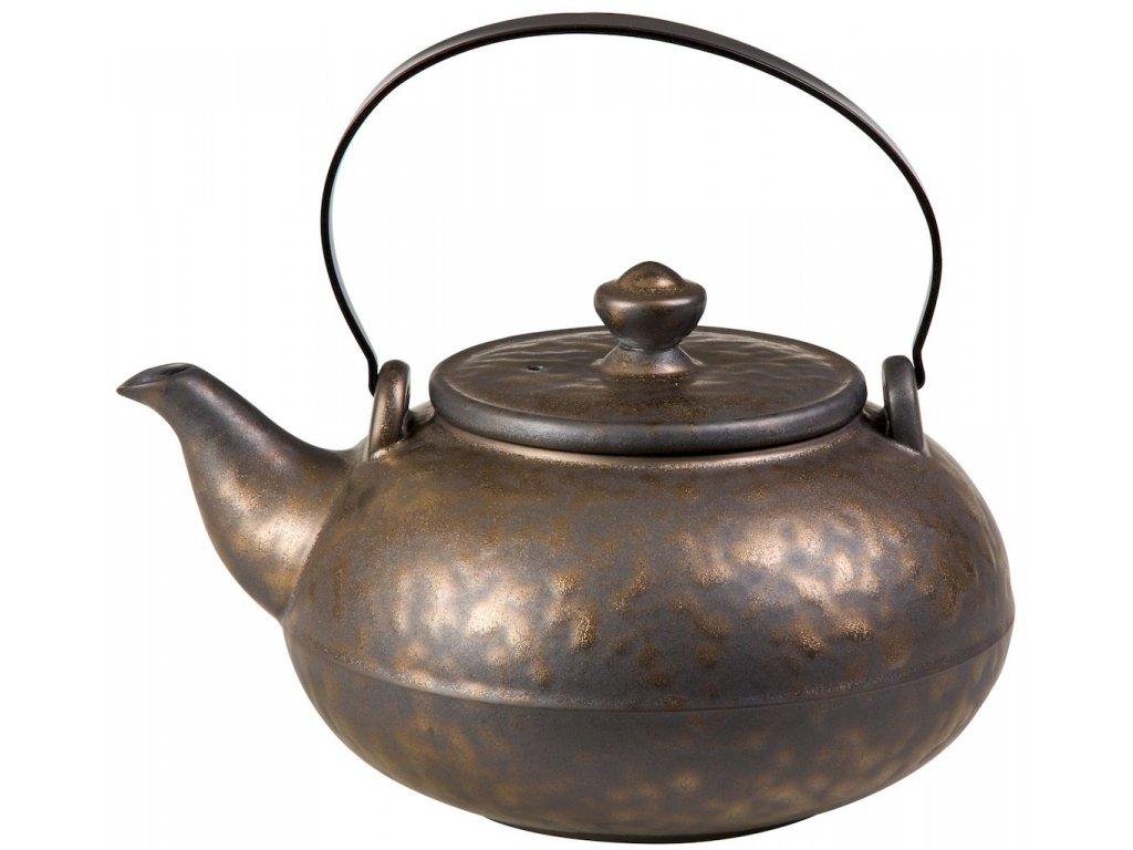 Arienne - porcelánová čajová konvice se sítkem 0,9 l, bronzová